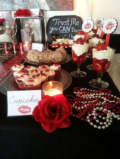 Cosmetics, cocktails, cookies, chocolate and cupcakes by candlelight birthday party! See more party planning ideas at CatchMyParty.com!