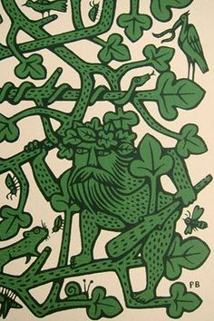 'The Green Man' screen print, detail (Woodwose/ Wodewose/ Wildman) Green Man Tattoo, Historical Tattoos, Historical Art, Maori Tribe, Man Images, Celtic Art, In Ancient Times, Occult, Tattoos For Guys