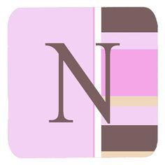 Set of 4 Monogram - Pink Stripes Foam Coasters Initial Letter N