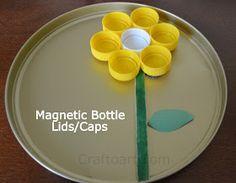 Magnetic Bottle lids art, learning & play ideas