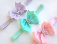 Baby headband light pink bow headband baby by MyPreciousBoutique