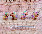 I love these adorable rainbow fleece stitch markers.