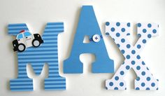 Custom Decorated Wooden Letters POLICE Theme Nursery by LetterLuxe, $20.00
