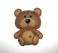 Wool Felt Brown Bear Ornament, Bear Ornament, Felt Bear, Kidsroom Decor, Nursery, Baby Mobile, Wall Decor, Baby Shower Gifts, Birthday Gift