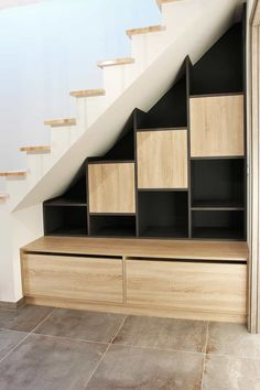 Loft Staircase, Staircase Storage, Stair Storage, House Stairs, Under Stairs Nook, Under Stairs Cupboard, Home Stairs Design, Home Design Plans, Attic House