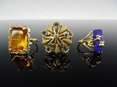 Ladies 10K Gold Rings, (3pc) : Lot 0033