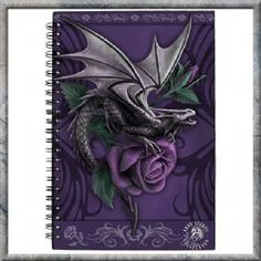 Journal~'Dragon Beauty' Purple Rose Journal Spell Note Book -  Anne Stokes~Folio Gothic Hippy NOW818