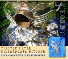 Silverplate Pitcher with Modified Forks & Spoons Repurposed Decorative Birdhouse by GadgetSponge.com
