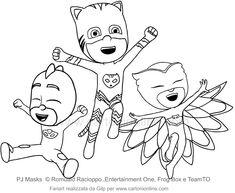Desenho dos PJ Masks para colorir Pj Masks Coloring Pages, Online Coloring Pages, Cartoon Coloring Pages, Coloring Pages For Kids, Color Activities, Craft Activities For Kids, Los Pj Masks, Elsa Birthday, Mask Drawing
