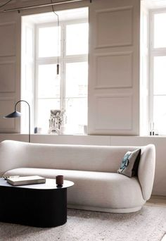 A soft beige makeover for 'The Home' by Ferm Living Sofa Colors, Room Paint Colors, Paint Colors For Home, Living Room Colors, Living Room Grey, Living Rooms, Grey Feature Wall, Minimalist Sofa, Green Cabinets