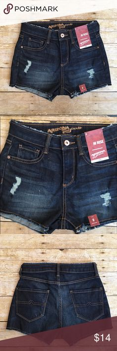 Arizona Jean Co. dark hi rise jean shorts, size 0 New with tags Arizona Jean Co. hi rise dark wash Jean shorts in a size 0. Perfect distressing to give it that extra kick! Waist- 12 inches, rise- 9.5 inches, inseam- 2 inches. Arizona Jean Company Shorts Jean Shorts