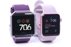 The $200 Fitbit Blaze, at left, is a tough sell compared with the Apple Watch...