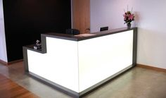 L Shape White Led Reception Desk Ideas With Black Frame In Black And White Wall Combine  At Attractive Home Office : Beautiful Decorating Reception Desk Ideas