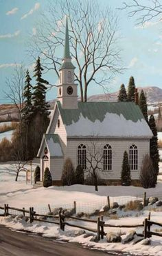 Country Church in the Snow