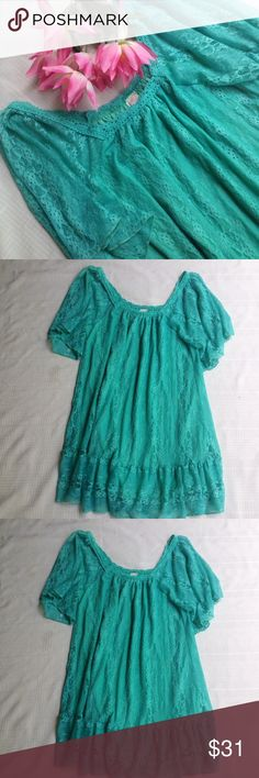 """😎🌴Hot Miami Collection Teal Lace Dress NWOT I don't know why I'm letting this go! I may change my mind so act soon before I do! This beautiful dress is sooo soft and silky you won't want to take it off! Very flattering to many body types and beautiful dresses up with your favorite accessories. Length 29"""" Bust 14"""" flat stretches to 19""""! 100% Polyester. Hand wash cold hang dry. NWOT R. Rouge Dresses Mini"""