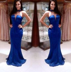 Blue Beading Halter Mermaid Stretch Satin Prom Dresses 2017