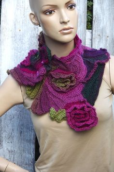 Crochet  Scarf roses - Capelet / Neck Warmer / Freeform crochet / Green / Purple/Pink Flower rose, unique design.,