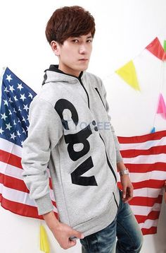 Black Full Zip Fashionable Printing Casual Hoodie