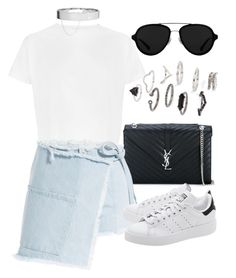 """""""Untitled #2367"""" by annielizjung ❤ liked on Polyvore featuring Yves Saint Laurent, Sandy Liang, adidas Originals, Eddie Borgo, Topshop and 3.1 Phillip Lim"""