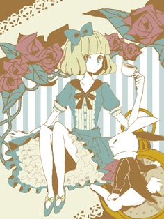 Alice in Wonderland and White Rabbit Lewis Carroll, Manga Anime, Manga Girl, Anime Art, Alice And Wonderland Quotes, Adventures In Wonderland, Game Character Design, Character Art, Cute Illustration