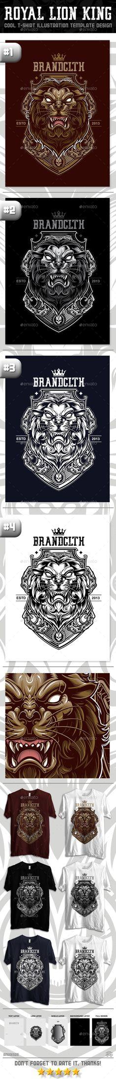 Royal Lion King T-Shirt Vector Illustration Design. Download: http://graphicriver.net/item/royal-lion-king/12591774?ref=ksioks