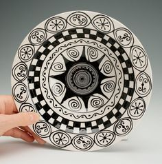 Rim Pasta Bowl Black and White Hand Painted