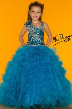 Mac Duggal Style 81685S - Let her take center stage in this beautiful pageant gown. This dress features an intricate sequin design on the bodice and shoulder straps while layers of ruffled chiffon makes up the floor length skirt.