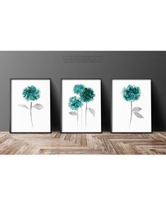 Turquoise Hydrangea Abstract Flower set 3 Art Prints, Teal Flowers Watercolor Painting Green Wall Decor, Botanical Hortensia Floral Print