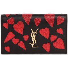 Saint Laurent Kate Monogram Heart-Patch Clutch Bag (see more flap handbags) eb10cc14ec