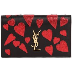Saint Laurent Women Medium Kate Monogram Hearts Clutch (3.981.170 COP) ❤ liked on Polyvore featuring bags, handbags, clutches, bolsas, black, glitter handbag, heart shaped handbag, monogrammed purses, monogrammed clutches and heart shaped purse