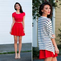Jersey Devil Red Crop Tee,  Flare Show Knit Red Skirt, Lavand Swell Lapels Blue And Cream Striped Sweater, Kelsi Dagger Giadda Nude Snake Embossed Slingback Slide Heels
