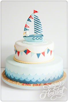 Nautical Christening Cake Gateau Baby Shower, Baby Shower Cakes, Fondant Cakes, Cupcake Cakes, Christening Cake Boy, Boat Cake, Nautical Cake, Baby Boy Cakes, First Birthday Cakes