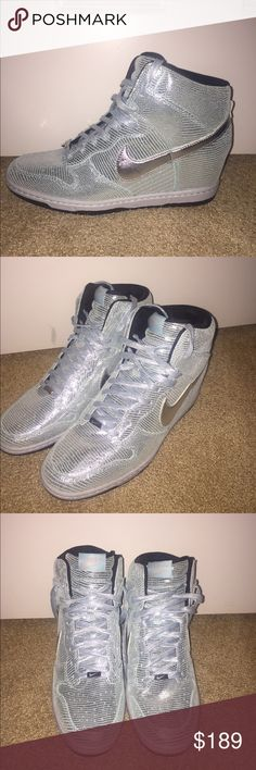 """Nike WMNS Dunk Sky Hi """"Disco Ball"""" NWOT. Limited edition and never worn. Metallic Silver/Glacier Ice Green. If Cinderella wore a shoe, this would be it! Nike Shoes Wedges"""