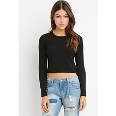 Love 21 Women's  Contemporary Ribbed Crop Top ($18) ❤ liked on Polyvore featuring tops, ribbed top, long crop tops, love 21, ribbed crop top and raglan top