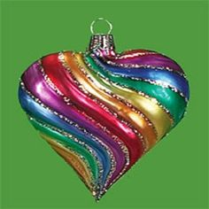 Rainbow Heart Christmas Glass Mouth Blown Ornament