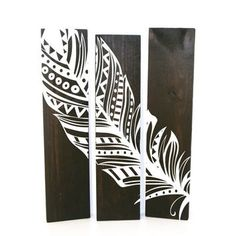 ON SALE - Reclaimed Espresso Wood Aztec Feather Sign Set of 3 - Wood Wall Decor, Gift for Her, Aztec Tribal Bedroom Decor