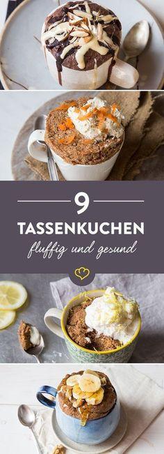 Ob Low Carb, clean, paleo, glutenfrei oder vegan - unter diesen 9 gesunden Tassenkuchen findet jeder das passende Küchlein zum Löffeln und Vernaschen.