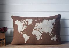 World map lumbar pillow cotton linen decorative throw by Ideccor