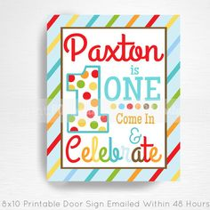 First Birthday Printable Door Sign YOU Print by printpopparty