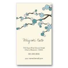 Elegant Blue Sakura Oriental Zen Chinese Cherry Blossom Themed Business Cards for beauticians, the cosmetics and skincare professions.