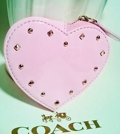 NWT Coach Studded Liquid Gloss Heart Coin Purse Wallet . Starting at $5 on Tophatter.com!
