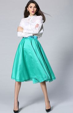 Women Vintage High Waist Bow A Line Solid Skirt - 50s skirt, vintage style, summer 2015 style, what to wear, happy colors