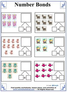 Teach your First Grade student about addition using these number bonds worksheets featuring full-color graphics kids are sure to love. Number Bonds Worksheets, First Grade Math Worksheets, Reading Worksheets, Common Core Curriculum, Addition Facts, Possible Combinations, Fact Families, Free Math, Activity Sheets