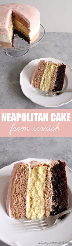 Chocolate, vanilla, AND strawberry - its the best of all worlds! This Neapolitan cake - made from scratch and without any food coloring - is a totally decadent and delicious treat! Homemade Strawberry Cake, Strawberry Cake Recipes, Just Desserts, Delicious Desserts, Dessert Recipes, Frosting Recipes, Yummy Food, Neapolitan Cake, Yummy Treats