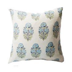 Blue Floral Block Pillow - Shop House of Jade