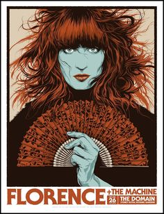 'Florence & The Machine at Sydney, Australia' by Ken Taylor, a new print release through Beyond The Pale. x 6 colour screen print with 2 Metallic inks, on 100 lb cougar smooth paper, in a. Rock Posters, Band Posters, Concert Posters, Music Posters, Cinema Posters, Ken Taylor, Florence The Machines, Florence Welch, Futuristic Art