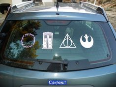 My car :) Lord of the Rings, Doctor Who, Harry Potter, Star Wars.