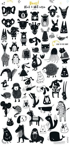 black and white animals, handdrawn kids illustration in scandinavian style, posters, nursery wall art, Big Kids Collection by JB ART on Illustration Book, Illustration Simple, Illustration Design Graphique, Black And White Illustration, Digital Illustration, Baby Doodle, Doodle Art, Big Kids, Art For Kids