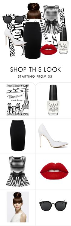 """""""Pretty Paris ..."""" by just-lea on Polyvore featuring OPI, Alexander McQueen, WearAll, Lime Crime, chic, black, Heels and blackandwhite"""