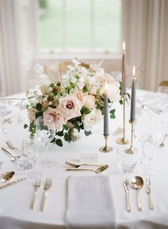 elegant wedding table settings, wedding centerpieces with blush roses and high candles, tableware arrangement, spring wedding ideas Candle Wedding Centerpieces, Wedding Table Centerpieces, Wedding Table Settings, Wedding Decorations, Centerpiece Ideas, Small Flower Centerpieces, Wedding Table Arrangements, White Floral Centerpieces, Wedding Table Setup